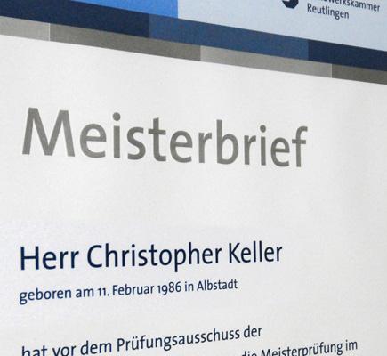 Meisterbrief von Christopher Keller