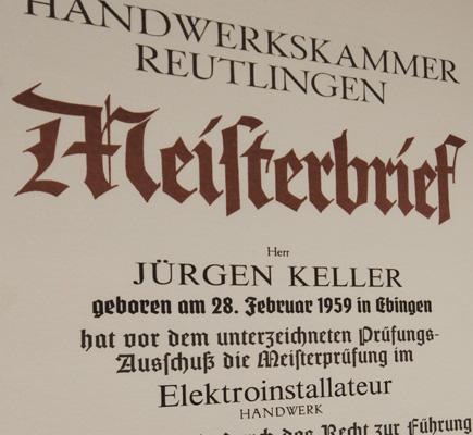 Meisterbrief von Jürgen Keller