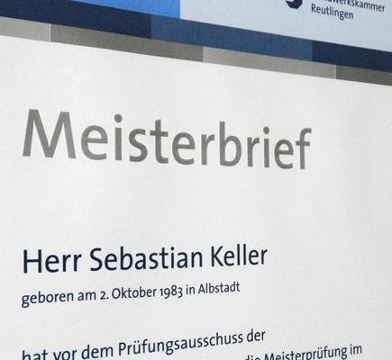 Meisterbrief von Sebastian Keller